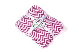 Bacati Ikat Zigzag Chevron Plush Throw, Bright Pink, 50\