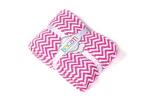 "Bacati Ikat Zigzag Chevron Plush Throw, Bright Pink, 50"" x 60"""