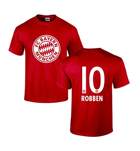 Gildan Men's Bayern Munich Arjen Robben 10 Soccer Cotton T Shirt Large