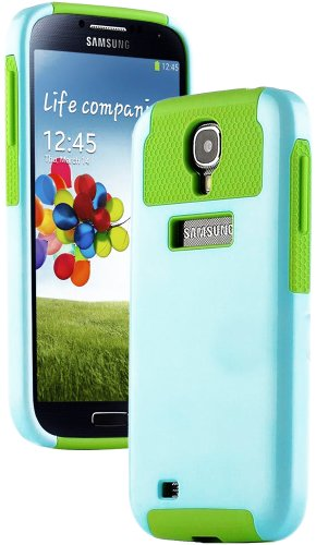 """Mylife (Tm) Cyan And Green - Classy Design (2 Piece Hybrid Bumper) Hard And Soft Case For The Samsung Galaxy S4 """"Fits Models: I9500, I9505, Sph-L720, Galaxy S Iv, Sgh-I337, Sch-I545, Sgh-M919, Sch-R970 And Galaxy S4 Lte-A Touch Phone"""" (Fitted Back Solid C"""