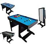 Billard Table Multi Jeux 12 en 1 Noir Pliable - BCE
