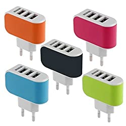 ElectroBee Genuine Fast Charger 3 Port USB Wall Mains Plug Power Adapter Charger with AiPower Tech for I Phone/Samsung/LG/Lenovo/and all most smart phones (Orange) 1 Year Full Warranty.