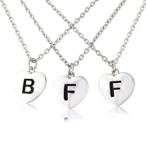 Three part bestfriends forever silver tone heart necklace's - includes