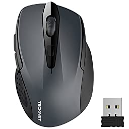 TeckNet Pro 2.4G Wireless Mobile Optical Mouse,Nano Receiver,6 Buttons,24 Month Battery Life,2400 DPI 3 Adjustment Levels
