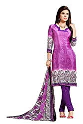 Lovely Look Pink & Purple Printed Dress Material