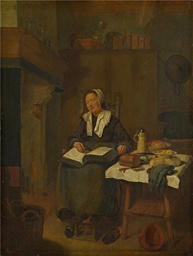 Oil Painting 'Quiringh Van Brekelenkam A Woman Asleep By A Fire ' Printing On Polyster Canvas , 12 X 16 Inch / 30 X 40 Cm ,the Best Basement Gallery Art And Home Decoration And Gifts Is This Imitations Art DecorativeCanvas Prints