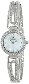 Bulova Womens 96L126 Crystal Bangle Mother of Pearl Dial Watch