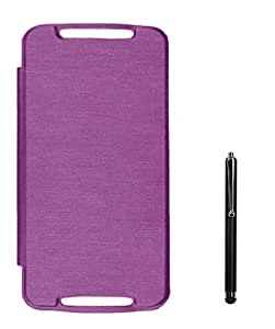 Chevron Flip Cover Case for Moto G 3rd Generation With Stylus (Purple)