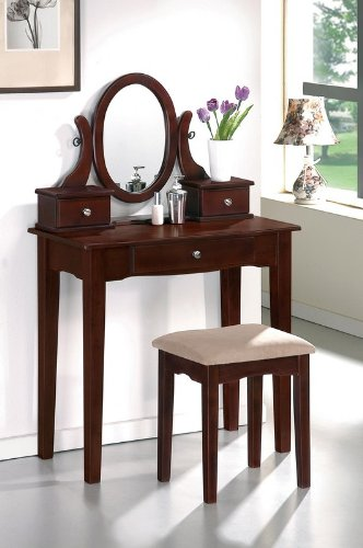 Vanity and Stool Set with Oval Mirror in Dark Cherry Finish