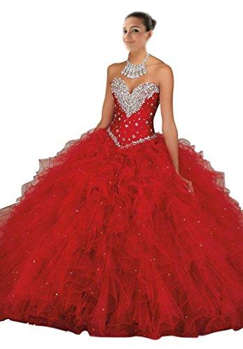 Mollybridal Women'S Crystal Ruffles Tulle Quinceanera Dress Ball Gowns Red Us10