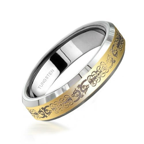 Bling Jewelry Unisex Mens Comfort Fit Gold Celtic Dragon Mens Tungsten Ring 5mm size 8