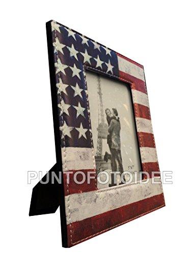 Cornice Portafoto 13x18 cm. da Tavolo in Ecopelle - Bandiera USA