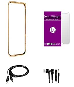 John Wilson Apple Iphone 4 Metallic Bumper - Golden + Screen Cover + Ear Phone + Aux Cable