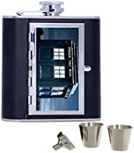 Doctor Who Custom Personalized 6oz Pu Leather Flask Black Stainless Steel Funnel For Hip Flask