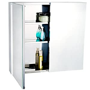 bathroom mirror storage cabinet double doors 600mm w