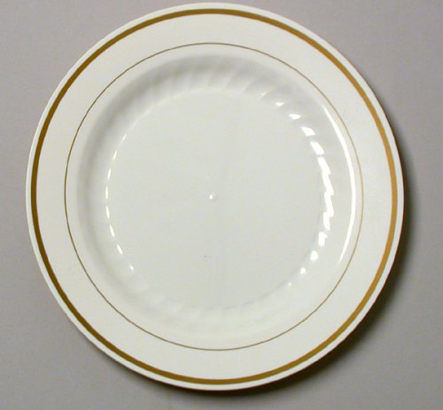 "10 1/4"" Gold Band Disposable china look Plate wna 120 Pieces"