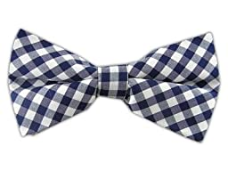 100% Cotton Navy Blue New Gingham Plaid Self-Tie Bow Tie