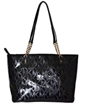 Hot Sale Michael Kors MK Mirror Metallic Jet Set EW Chain Tote Bag Handbag Purse - Black