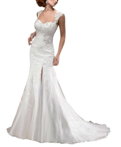 GEORGE BRIDE Removable Lace Strap Split-front Chapel Train Wedding Dress Size 2 White