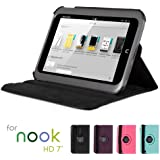 GMYLE(R) Black 360 Degree Rotating PU leather Folio Stand Case Cover for Nook HD 7 inches Barnes & Noble e-book Reader Tablet (Multi Angle- Vertical / Horizontal and Wake up Sleep Function)
