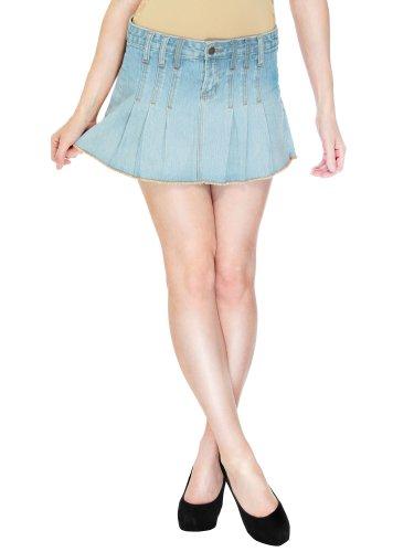 Simpliticy Sassy Heavily Pleated Mini Skirt In Denim, Pockets Light Blue 7 front-679181