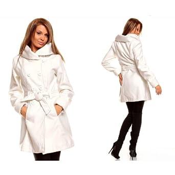 damen winter jacke mantel wolljacke wintermantel trenchcoat l 38 wei bekleidung. Black Bedroom Furniture Sets. Home Design Ideas