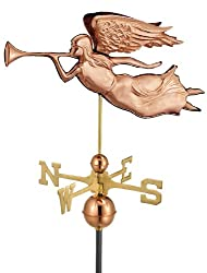 "27"" Luxury Polished Copper Trumpeting Angel Weathervane"