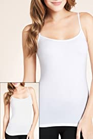 2 Pack - Scoop Neck Mesh Trim Stretch Vests [T61-3603M-S]