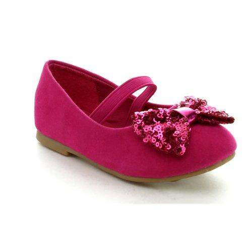 Jelly Beans Etana Toddler'S Girls Hot New Slip On Bow Ballet Flats Dress Shoes, Color:Fuchsia, Size:4