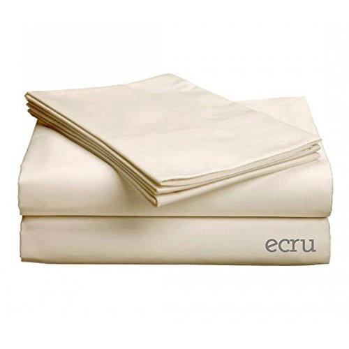 "Classic Collection-300Ct Combed Cotton Percale Weave Deep Pocket Upto 18"" Pocket Sheet Set Cal King Ecru back-1022274"
