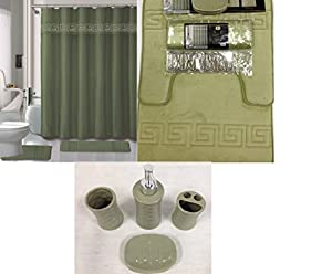 19 piece bath accessory set square sage green for Sage bathroom accessories