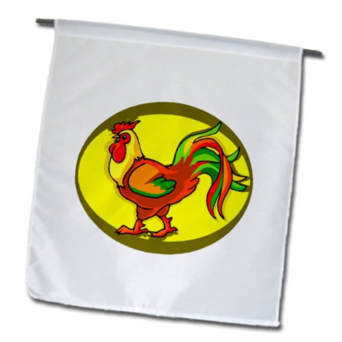 Fl_178298_1 Susans Zoo Crew Holidays Easter - Rooster Yellow Background Chicken - Flags - 12 X 18 Inch Garden Flag front-284891