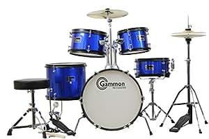 Gammon 5-Piece Junior Starter Drum Set Metallic Blue Kit with Cymbals Stands Sticks Throne