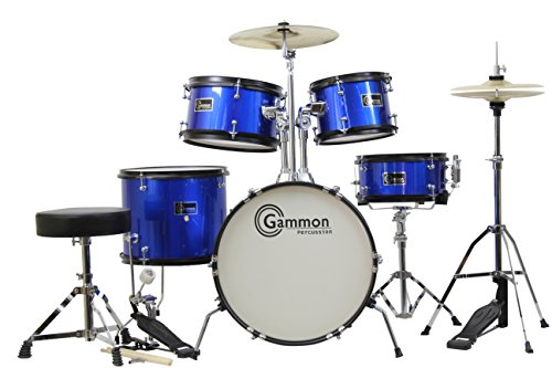 gammon-5-piece-junior-starter-drum-kit-with-cymbals-hardware-sticks-throne-metallic-blue