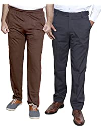 Indistar Mens Formal Trousers With Men's Premium Cotton Lower (Length Size -38) With 1 Zipper Pocket And 1 Open Pocket (Pack Of -1 Lower With 1 Trouser)