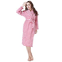 Richie House Womens' Striped Coral Fleece Robe RH1589-S