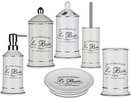 LE BAIN 6PC BATHROOM SET IDEAL FOR ANY BATHROOM WHITE CERAMIC