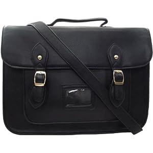 Vintage Large 13.5'' Unisex Faux Leather Satchel/Cross Body Bag (13.5'' Black (Large))