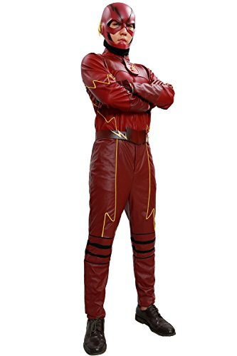Flash Costume Deluxe Suit Superhero Cosplay Halloween Red Outfit Custom Made