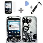 Rubberized Silver Black Vine Flower Snap on Design Case Hard Case Skin Cover Faceplate for LG Optimus T/Thrive/Phoenix P509/P505