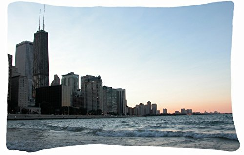 Microfiber Peach Queen Size Decorative Pillowcase -City Chicago City front-1010321