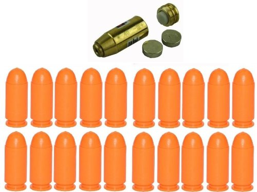 Ultimate Arms Gear .40 S&W Smith & Wesson Ammo Gun Pistol Handgun Cartridge Laser Bore Sighter Boresight Boresighter - Batteries Included + Pack Of 20 Inert .40 S&W Smith & Wesson Caliber Safety Trainer Cartridge Dummy Ammunition Ammo Pistol Rounds