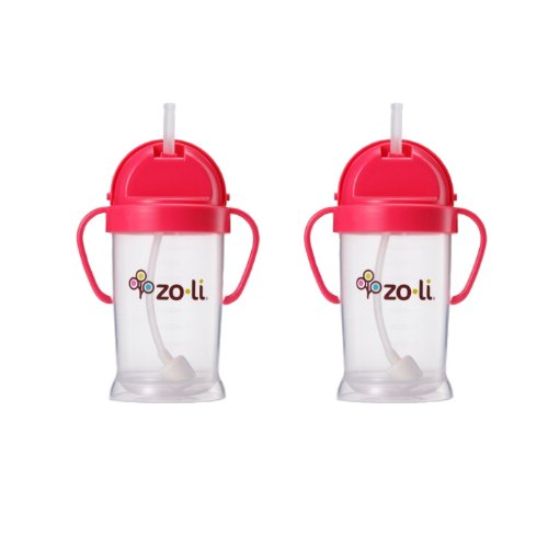 Imagen de Zoli bebé Bot XL Straw Sippy Cup 9 oz - 2 Pack, Pink / Pink