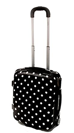 ABS Hard Shell Cabin Case Designed To Fit Cage 50x40x20cm EasyJet Onboard Hand Luggage (50x40x20cm Black/Dots)