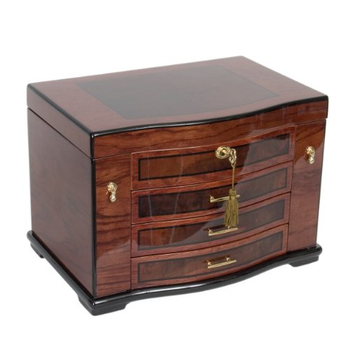 handcrafted fully locking jewelry box in poplar wood with