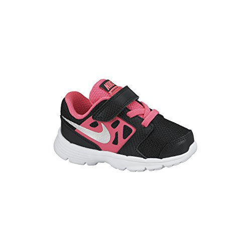 pictures of Nike Girl's Downshifter 6 (TD) Sneaker Black/Hyper Pink/White/Metallic Silver 4C