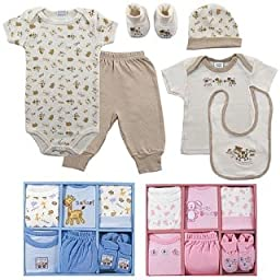Luvable Friends 6-Piece Layette Gift Set, 0-6 Months, Brown