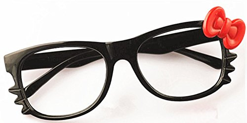 FancyG® Cute Fashion Glass Frame Eyewear with Bow Tie Cat Eyes Whiskers NO LENS