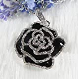 Crystal Rose Flower Jewelry USB Flash Drive with Necklace:8GB(Black)