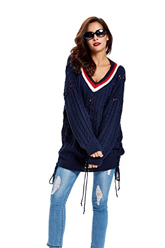 Women's V-Neck Hollow Knit Sweater Long Sleeve Loose Pullover Cardigan